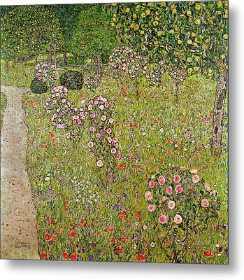 Orchard With Roses Obstgarten Mit Rosen Metal Print