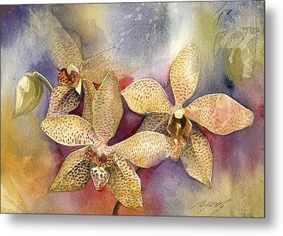 Orchid In Yellow Metal Print by Alfred Ng