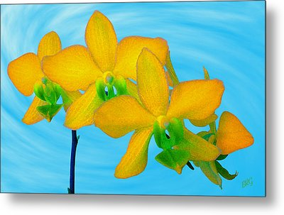 Orchid In Yellow Metal Print by Ben and Raisa Gertsberg