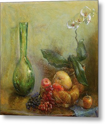 Orchid With Basket Of Fruit And Green Vase Oil On Canvas Metal Print by Gail Schulman