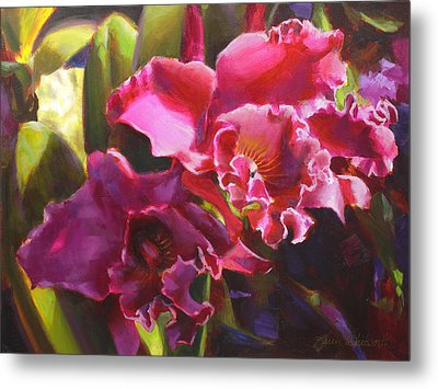 Orchids In Magenta Metal Print by Karen Whitworth