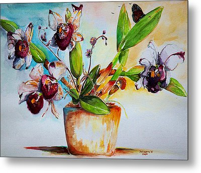 Metal Print featuring the painting Orchids Of The Bay by Bernadette Krupa