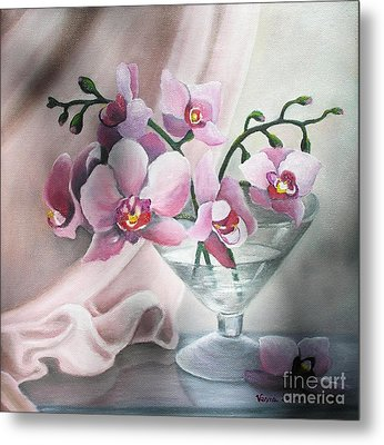 Metal Print featuring the painting Orchids by Vesna Martinjak