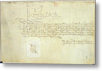 Order Signed By Elizabeth I Metal Print