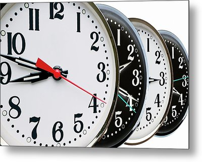 Ordered Clock Times Metal Print by Victor De Schwanberg