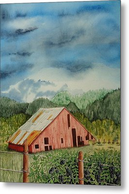 Metal Print featuring the painting Oregon Barn by Katherine Young-Beck