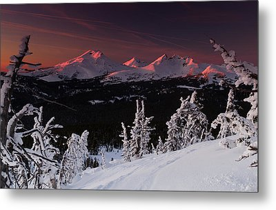 Oregon Cascades Winter Sunset Metal Print