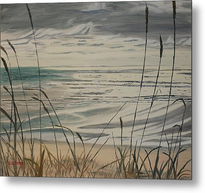 Oregon Coast With Sea Grass Metal Print