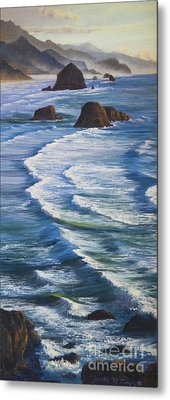 Metal Print featuring the painting Oregon Coastline by Jeanette French