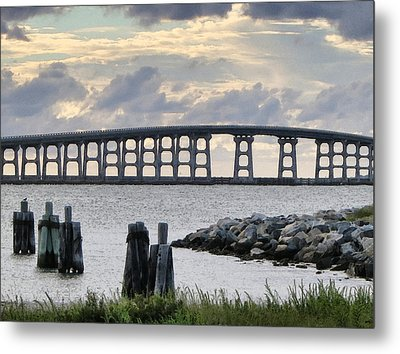 Oregon Inlet Bridge And Pilings Metal Print by Patricia Januszkiewicz