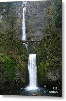 Oregon Long Shot Of  Falls Metal Print