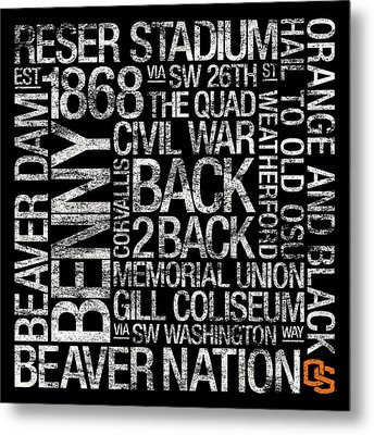 Oregon State College Colors Subway Art Metal Print by Replay Photos