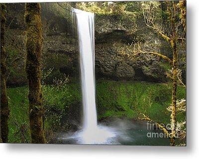 Oregon Waterfall Woodland Metal Print by Andrea Hazel Ihlefeld