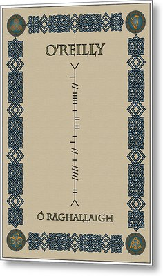 Metal Print featuring the digital art O'reilly Written In Ogham by Ireland Calling