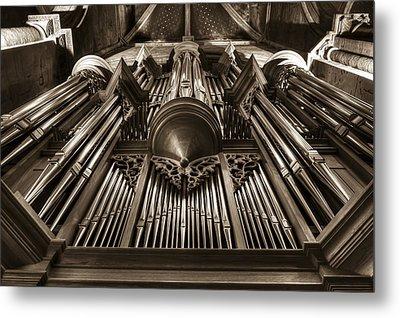 Organ In Sepia Metal Print