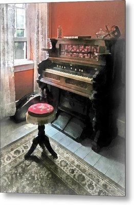 Organ With Petit Point Stool Metal Print by Susan Savad