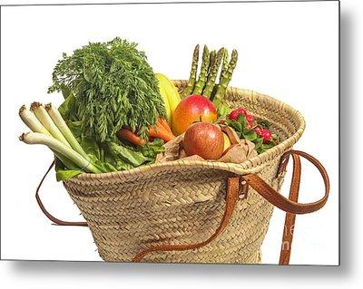 Organic Fruit And Vegetables In Shopping Bag Metal Print by Patricia Hofmeester