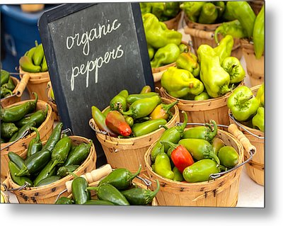 Organic Peppers At Farmers Market Metal Print by Teri Virbickis