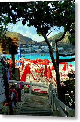 Orient Beach Peek Metal Print by Karen Wiles