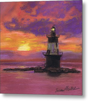 Orient Point Lighthouse Sunset Metal Print