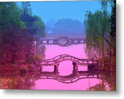 Oriental Bridge Metal Print by Larry Moloney