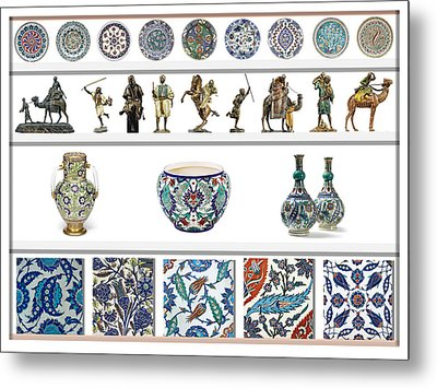 Oriental Ceramics Pottery And Bronze Art Collection Metal Print