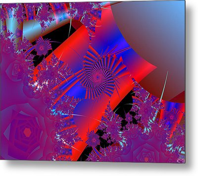 Metal Print featuring the digital art Oriental In Red by Ann Peck