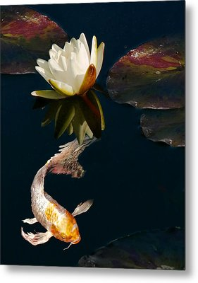 Oriental Koi Fish And Water Lily Flower Metal Print by Jennie Marie Schell