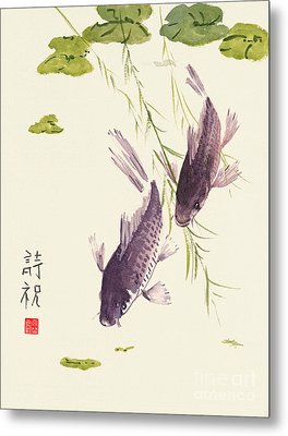 Metal Print featuring the painting Oriental Koi IIi by Sandy Linden