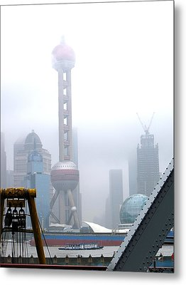 Oriental Pearl Tower Under Fog Metal Print