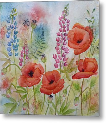 Oriental Poppies Meadow Metal Print by Carla Parris