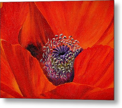 Metal Print featuring the painting Oriental Poppy by Jo Appleby