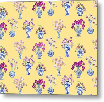 Oriental Vases With Orchids Metal Print by Kimberly McSparran
