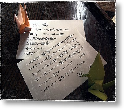 Origami And Calligraphy On Rice Paper Metal Print by Daniel Hagerman