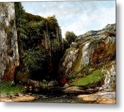 Metal Print featuring the digital art Origin Of A Stream by Gustave Courbet