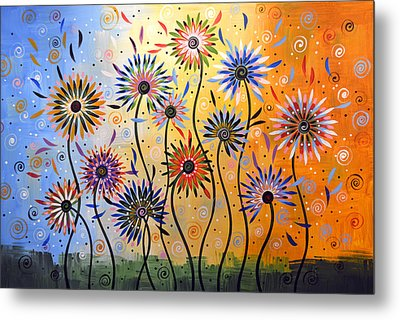 Original Abstract Modern Flowers Garden Art ... Explosion Of Joy Metal Print by Amy Giacomelli