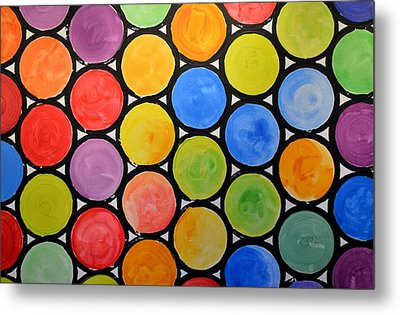 Original Abstract Painting Circles Print ... Watercolor Windows Metal Print by Amy Giacomelli