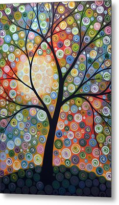 Original Abstract Tree Landscape Art Painting ... Waiting For The Moon Metal Print