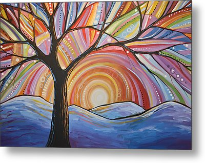 Metal Print featuring the painting Original Abstract Tree Landscape Painting ... Mountain Majesty by Amy Giacomelli