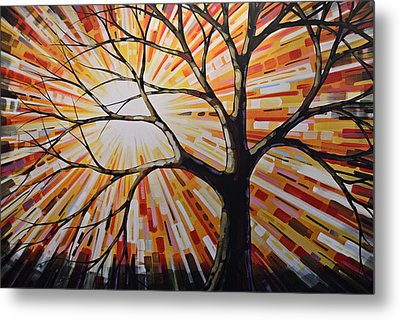Original Abstract Tree Landscape Painting ... Shine Metal Print by Amy Giacomelli