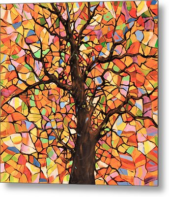 Original Abstract Tree Landscape Painting ... Stained Glass Tree #2 Metal Print