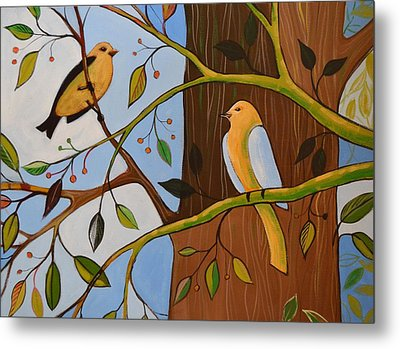 Original Animal Birds Art Painting ... Birds In The Garden Metal Print by Amy Giacomelli