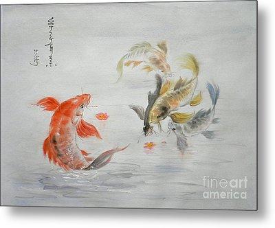 Original Animal  Oil Painting Art- Goldfish Metal Print by Hongtao     Huang