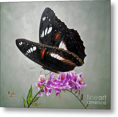 Original Animal Oil Painting Art-the Butterfly#16-2-1-09 Metal Print by Hongtao     Huang