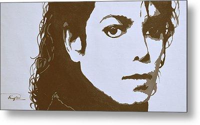 original black an white acrylic paint art- portrait of Michael Jackson#16-2-4-12 Metal Print by Hongtao     Huang