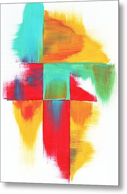 Original Bold Colorful Abstract Painting Indecisive By Madart Metal Print by Megan Duncanson