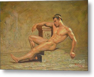 Original Classic Oil Painting Gay Man Body Art Male Nude -023 Metal Print by Hongtao     Huang