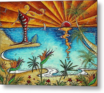 Original Coastal Surfing Whimsical Fun Painting Tropical Serenity By Madart Metal Print by Megan Duncanson