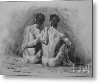 Original Drawing Sketch Charcoal Chalk Male Nude Gay Man Art Pencil On Paper By Hongtao Metal Print