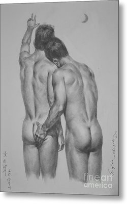 Original Drawing Sketch Charcoal Chalk Male Nude Gay Man Moon Art Pencil On Paper By Hongtao Metal Print